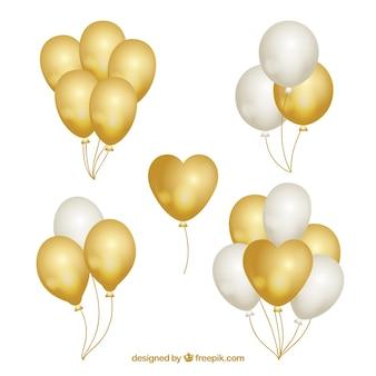 Gouden en witte ballonnen collectie