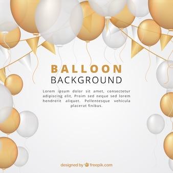 Gouden en witte ballonsachtergrond om te vieren