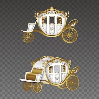 Gouden en witte bruiloft rijtuigen illustratie set