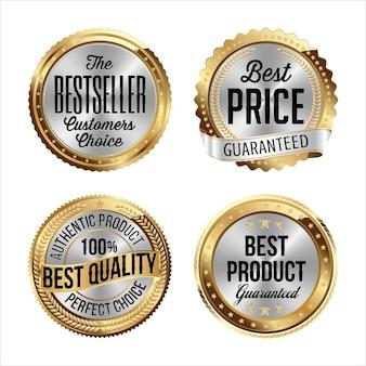 Gouden en zilveren badges. bestseller, beste prijs, beste kwaliteit, beste product.