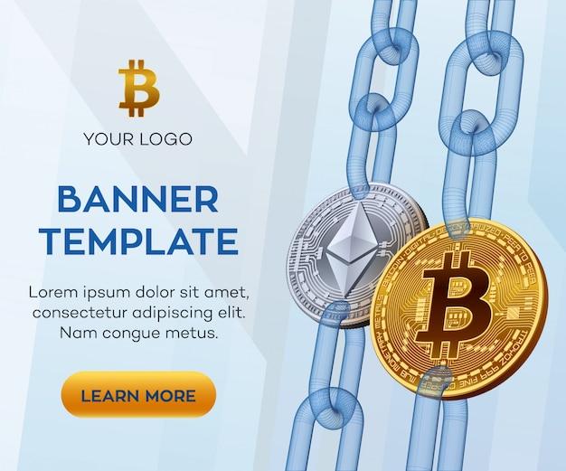 Gouden en zilveren bitcoin banner