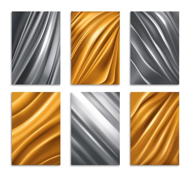 Gouden en zilveren folie textuur realistische set geïsoleerde illustratie