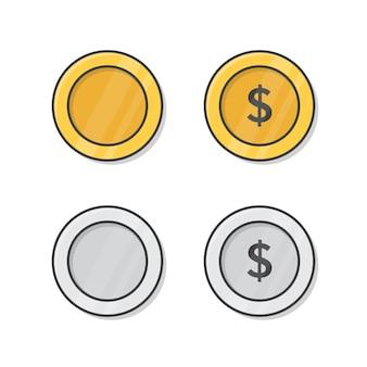 Gouden en zilveren munt vector pictogram illustratie. dollar geld munten plat pictogram Premium Vector