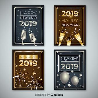 Gouden en zilveren nieuwe jaar 2019 kaartcollectie