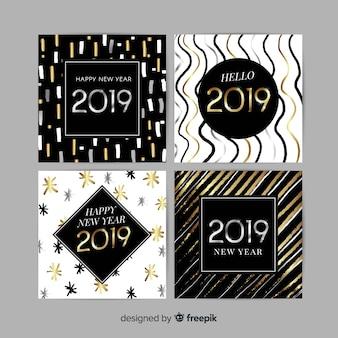 Gouden en zilveren nieuwjaar 2019 kaarten set