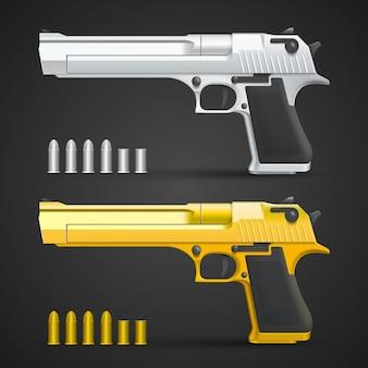 Gouden en zilveren pistool kunst set. vector illustratie