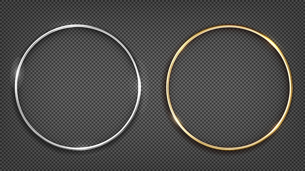 Gouden en zilveren ringframe. ronde banner.