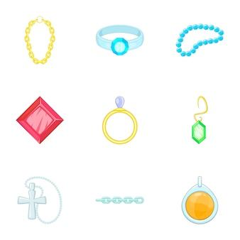 Gouden en zilveren sieraden set, cartoon stijl