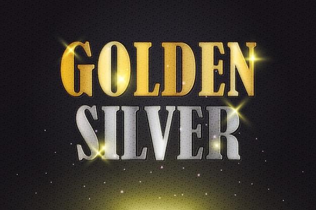 Gouden en zilveren tekststijleffect met textuur