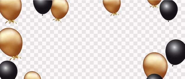 Gouden en zwarte ballonnen geïsoleerd op wit