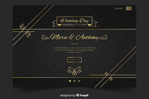 Gouden en zwarte bruiloft-bestemmingspagina