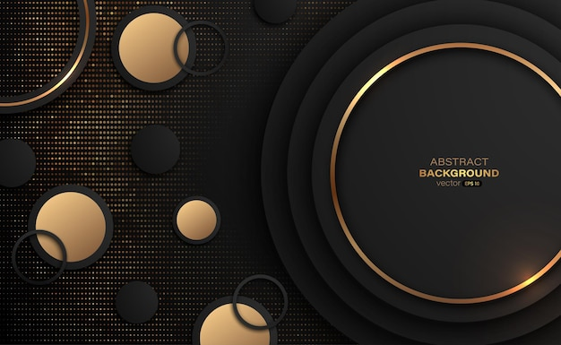 Gouden en zwarte cirkel met glitter gouden abstracte achtergrond
