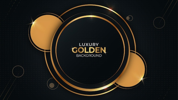 Gouden en zwarte cirkel moderne gradiënt luxe achtergrond gratis vector