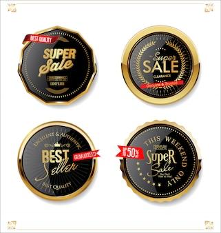 Gouden en zwarte retro verkoopbadges en etiketteninzameling