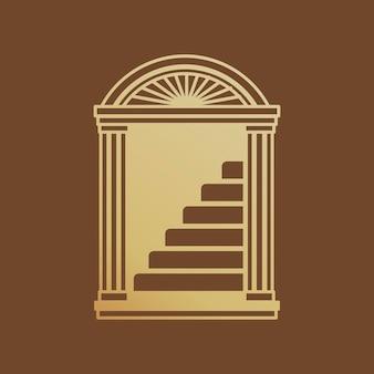 Gouden entree badge sticker, 3d modern design vector