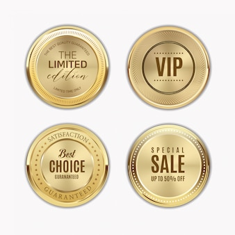 Gouden etiketten met gouden frame over beige