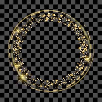 Gouden fee stof ring of gouden afgeronde frame op transparant