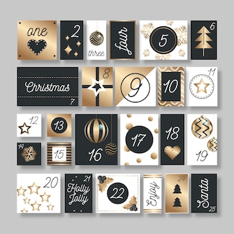 Gouden feestelijke adventskalender