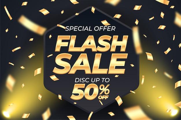 Gouden flash verkoop sjabloon voor spandoek met gouden confetti