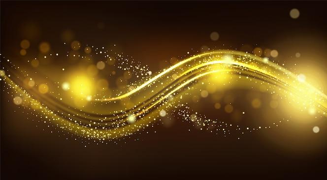 Gouden fonkelingsgolf op zwarte vage achtergrond.