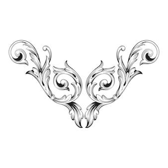 Gouden frame en rand met barokke stijl. zwart-witte kleur. floral gravure decoratie