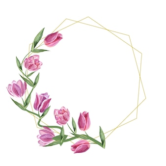 Gouden frame geometrische tulp bloemen