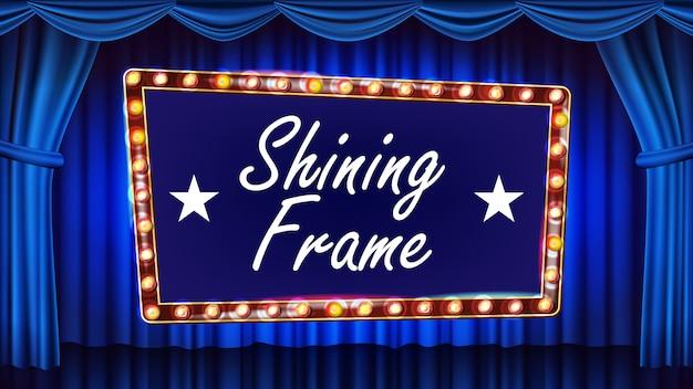 Gouden frame gloeilampen op de achtergrond. blauwe achtergrond. realistisch retro frame design element board. markttent banner.