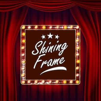 Gouden frame gloeilampen vector. rode achtergrond. realistisch retro frame design element board.