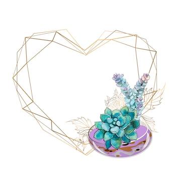 Gouden frame in de vorm van een hart