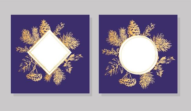 Gouden frame kerstmis en nieuwjaar uitnodigingskaart. hand getekend vectorillustratie van retro krans op lichte achtergrond. wintervakantie collectie