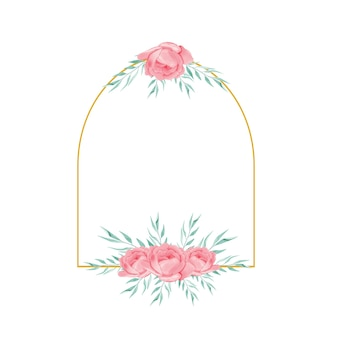 Gouden frame met aquarel bloemboeket