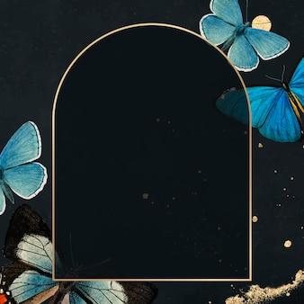 Gouden frame met blauwe vlinders patroon achtergrond vector