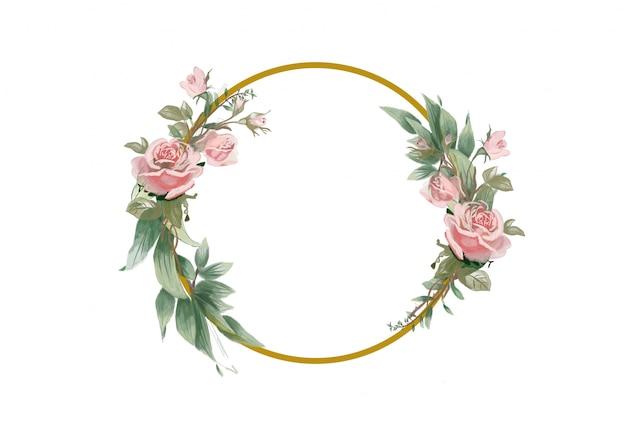 Gouden frame met bloem