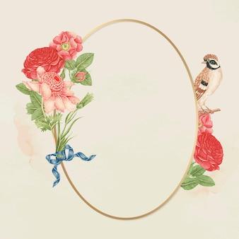 Gouden frame met bloemenvogel, een remix van de 18e-eeuwse kunstwerken uit het smithsonian-archief.