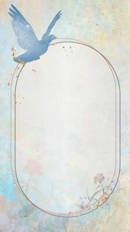Gouden frame met een blauw duifsilhouet die mobiel behang schilderen