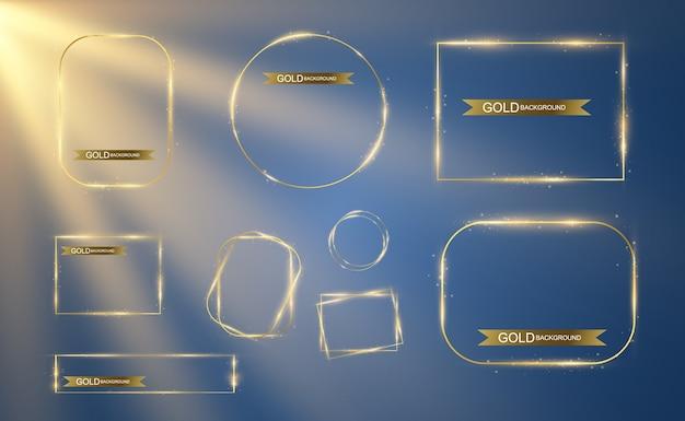 Gouden frame met een helder licht