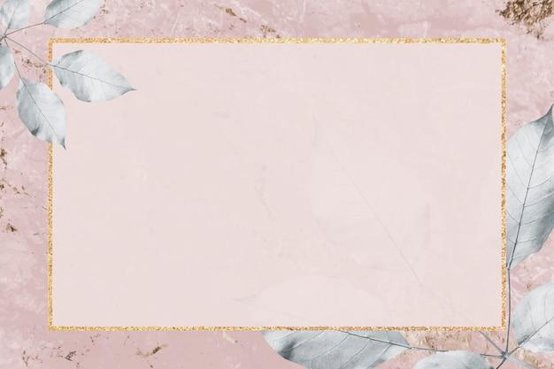 Gouden frame met gebladertepatroon op marmeren geweven achtergrondvector
