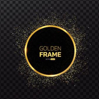 Gouden frame met glitter achtergrond