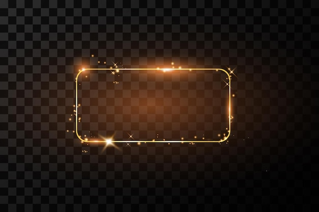 Gouden frame met illustratie van lichteffecten
