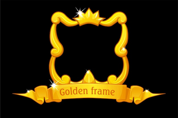 Gouden frame met kroon, vierkante sjabloon met prijslint voor ui-spel