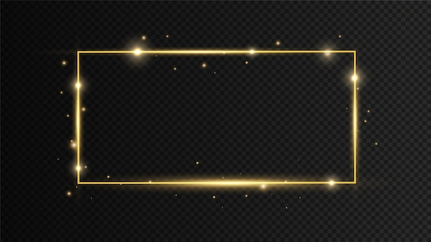 Gouden frame met lichteffecten op zwarte transparante achtergrond