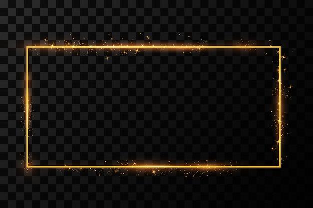 Gouden frame met lichteffecten. stralende rechthoek banner. geïsoleerd. illustratie