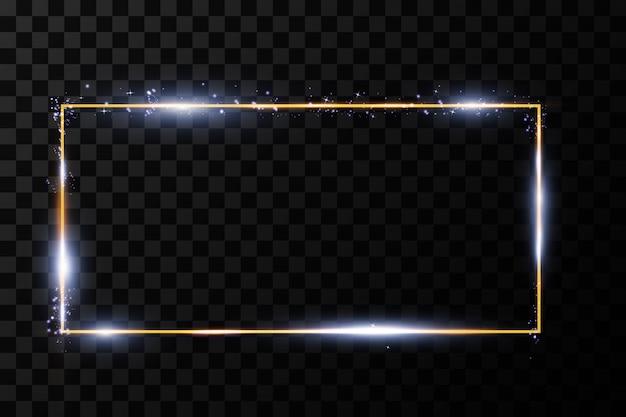 Gouden frame met lichteffecten. stralende rechthoek banner.