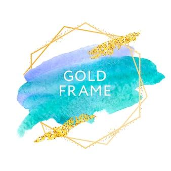 Gouden frame met penseel kunst verf abstract textuur ontwerp