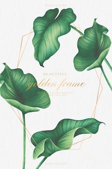 Gouden frame met prachtige aquarel bladeren