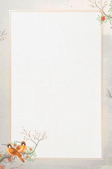 Gouden frame met twee bruine vogels op beige achtergrond