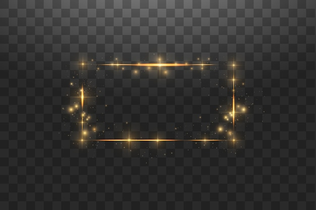 Gouden frame met verlichting. gloedlijn gouden frame met vonken en schijnwerperlichteffecten