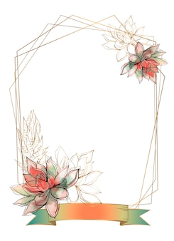 Gouden frame met vetplanten bloemen. waterverf. grafiek