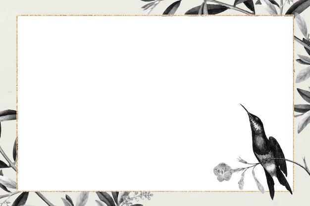 Gouden frame op botanische patroonvector