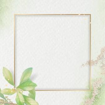 Gouden frame op gebladerte achtergrondsjabloon